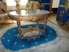HUGE GOLD FRENCH OVAL Marble Top Palor GWTW Banquet Lamp Table Victorian Revival