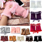 Women's Nice Real Rabbit Fur Hand Wrist Warmer Fingerless Winter Gloves,12 Color
