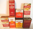 Lot of 7 Vintage Spices Extracts Tins Bottles Boxes 50's 60' Originals Used