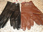 NEW WOMENS Merona LEATHER Gloves Size S/M  BLACK OR BROWN W  /BUCKLE