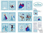 Disney Frozen Anna's Friends Olaf Softbook on Blue Cotton Fabric By the Panel