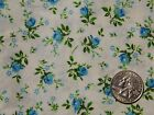 Vintage Blue Roses Olive leaves on Ivory Cotton Craft Quilt Fabric 35
