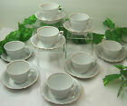 Set 8 CUP SAUCER White Gold Trim CLASSICO CERAMIC FINE PORCELAIN Made in Poland