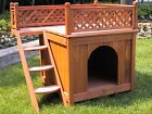 Indoor Outdoor Wood Pet Dog Cat House Balcony Stairs Latticework Fence Play