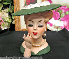 VINTAGE LADY WOMAN HEAD VASE PLANTER.. She has EYELASHES & PEARLISH lNECKLACE