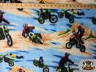 Fleece Printed Fabric MOTOCROSS BLUE BROWN 58 Wide Sold by the yard