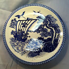 Large Vintage Round Blue and White Japanese Platter Post-1940 Ceramic/Porcelain