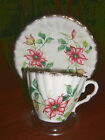 Gladstone Bone China Cup & Saucer~Clematis Flower~Gold Trim~Made in England