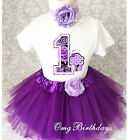 Purple Swirls Infant Cupcake Baby Girl 1st First Birthday Tutu Outfit Shirt Set