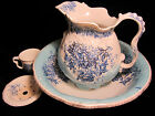 Antique Flow Blue Ironstone Washing Pitcher and Bowl Set by Smith & Ford Floral