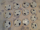 Victoria Austria China Flying Blue Bird Plates Saucers 10 Pc 5.5