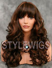 Long Big Curls Full Volume Medium Brown & Auburn Mix Curly Wavy Wig WICA 6/30