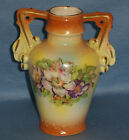 ANTIQUE VINTAGE HAND PAINTED FLOWERS CZECH VASE WITH HANDLES