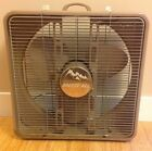 Vintage Breeze-All by Atkins Box Fan - two speed, thermostat, metal, brown