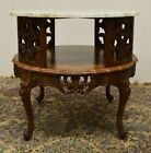Carved Wood French Provincial Marble Top 2 Tier Center Coffee End Table