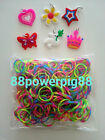 1500 Mixed Tide Dye Color Loom Rubber Bands & 40 S Clips & 6 Charms US Seller