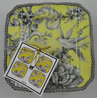 Set of (4) 222 FIFTH ADELAIDE YELLOW Toile Bird Snack, Appetizer Plates NEW