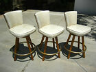 Set of 3 Mid Century Modern Vinyl Swivel BAR STOOLS w Decorative Nails
