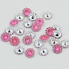 50PCS plastic crystal round sunflowers Scrapbooking craft Flat back
