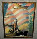 VINTAGE 1940'S PATRIOTIC PRINT ~ LADY LIBERTY ~ STARS & STRIPES ~ ART DECO FRAME