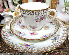 ANTIQUE ENGLISH TEA CUP AND SAUCER TRIO PLATE PAINTED FLORAL TEACUP