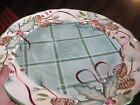 ZRIKE 16 IN Serving Platter Christmas Hand painted HOLIDAY HOLLY PINECONE