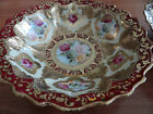 ANTIQUE NIPPON (4) PORCELAIN BOWLS HAND PAINTED BURGUNDY GOLD LEAF