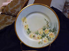 P T Bavaria Yellow Rose Decor Plate Heavy Gold Trim 8 1/2 Inch