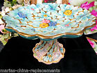 ARDALT ITALY PAINTED COMPOTE FLORAL CAKE STAND GOLD GILT