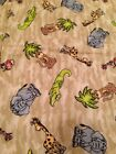Camo Jungle Animal Snuggle Flannel Fabric 1.5 yard Elephant Giraffe Monkey