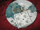 222 Fifth ELIZA TEAL APPETIZER PLATES - Set of 8 - NEW