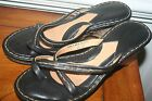 BORN DRILLES Women's Black Leather Strappy Wedge Sandals Shoes US 9 M/W