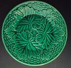 Green majolica leaf decor plate, England