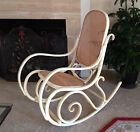 VTG POST 1950 BENTWOOD ROCKER ROCKING CHAIR RATTAN SOLID WOOD IVORY POLAND