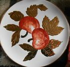 Vintage Hand Signed Italian Ceramic Apples Plate/Platter With Gold Made In Italy