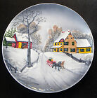 VINTAGE DECORATOR PLATE EMBOSSED WALL PLAQUE WINTER SCENE - WEST GERMANY