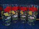 1950's Vintage Red Yellow Green White Flowers Beverage Tumbler