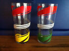 1950's Vintage Red Green Yellow White Swirl Design Beverage Tumbler Glass