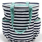 Thirty One Defective Retro Metro Bag Navy Wave Shopping Shoulder Tote Utility 31