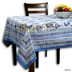 Block Print Floral Tablecloth 60x60 for Square Table Cotton Blue Pink White