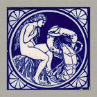 MINTON TILE Moyr Smith 'Water Nymph Series' Stoke on Trent Extremely RARE!