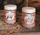 Cowboy Salt and Pepper Shaker Set of 2 Metal Old Fashioned Cowboy Horse Shakers