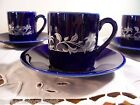 HIC Espresso Demitasse Cup Saucer Set 4 Porcelain Blue White Gold Design Japan