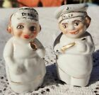 VINTAGE 1950'S PAIR OF HAND PAINTED CERAMIC SALT & PEPPER SHAKERS - CHEF & BAKER