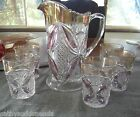 EAPG US GLASS RUBY STAINED PATTEE CROSS PATTERN PITCHER AND TUMBLER WATER SET