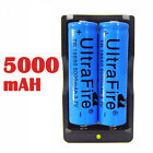 2PC UltraFire 18650 3.7v 5000mAH Rechargeable Li-ion Battery+Charger For Light