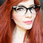 Cat Eye Ombre Gradient Sexy Pin Up Kat Crystals Demi Betty Frames Eye Glasses IT