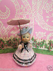 Vtg ARDALT Southern Belle Girl W Pink Umbrella Pink Rose Easter Bonnet W LABEL