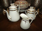 19TH C  HAVILAND COFFEE TEA POT CREAMER SUGAR SET LIMOGES FRANCE ROPE NAUTICAL