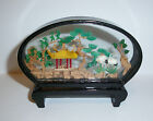 Vintage Chinese Cork Diorama Black Lacquer & Glass Shadow Box
